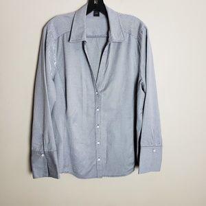 Ann Taylor Gray Pinstripe French Cuff Shirt Sz. 18